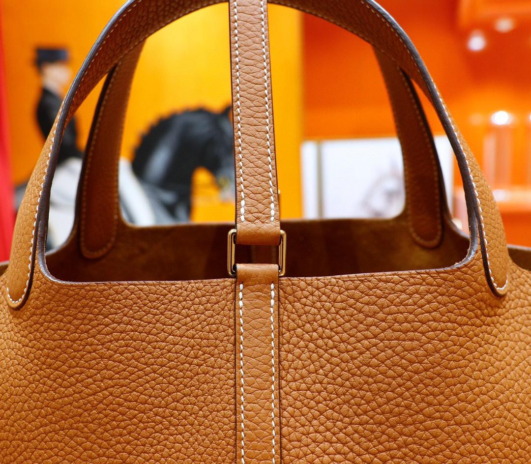Hermès(爱马仕)Picotin 菜篮子 金棕 Togo 全手缝 金扣 22cm