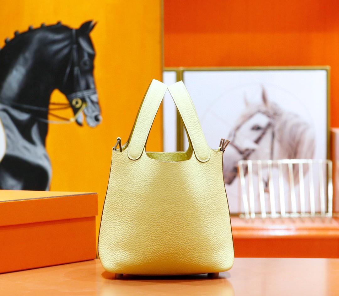 Hermès(爱马仕)Picotin 菜篮子 小鸡黄 Togo 全手缝 银扣 18cm