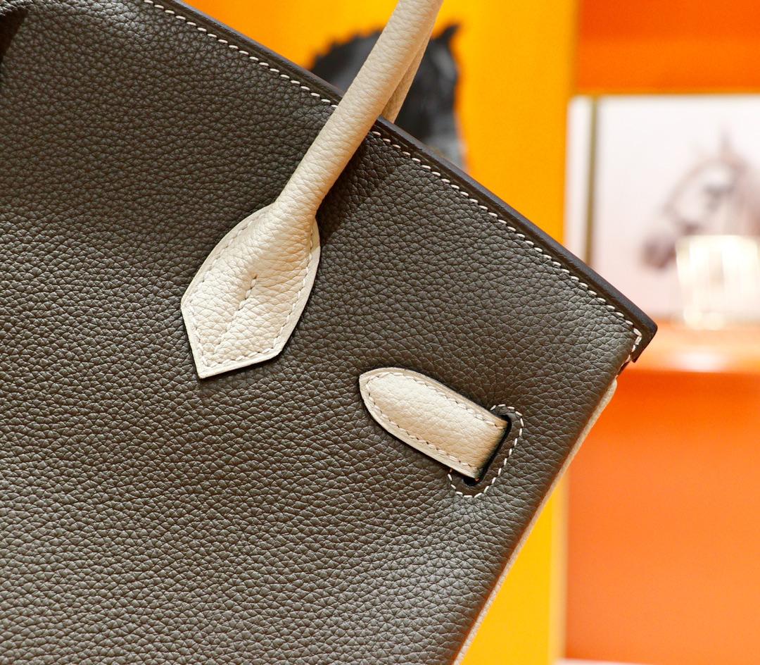 Hermès(爱马仕)Birkin 铂金包 锡器灰拼奶昔白 Togo 全手缝 金扣 30cm