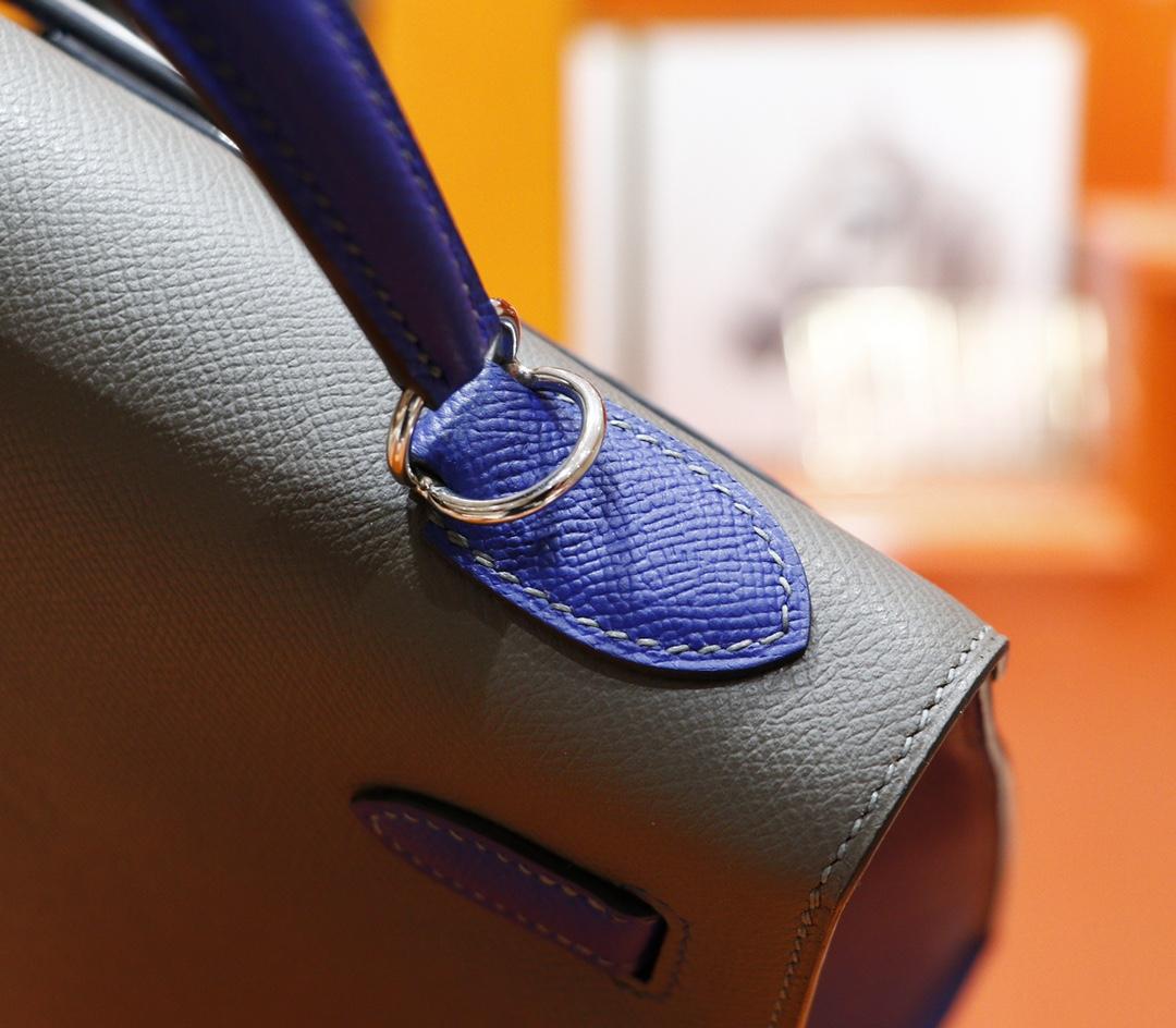 Hermès(爱马仕)Kelly 凯莉包 锡器灰 拼 电光蓝 Epsom 银扣 32cm