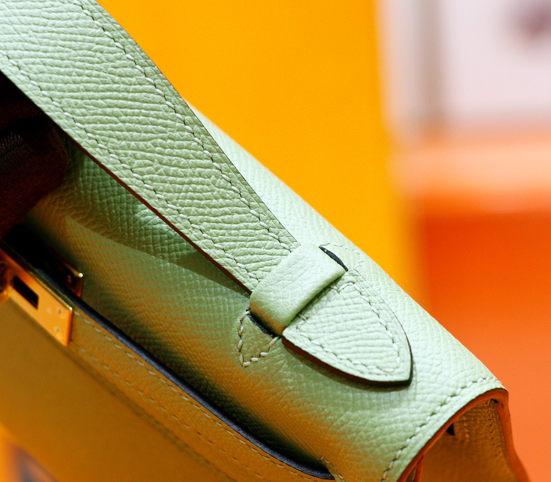 Hermès(爱马仕)Minikelly 迷你凯莉 牛油果绿 Epsom 全手缝 金扣 一代