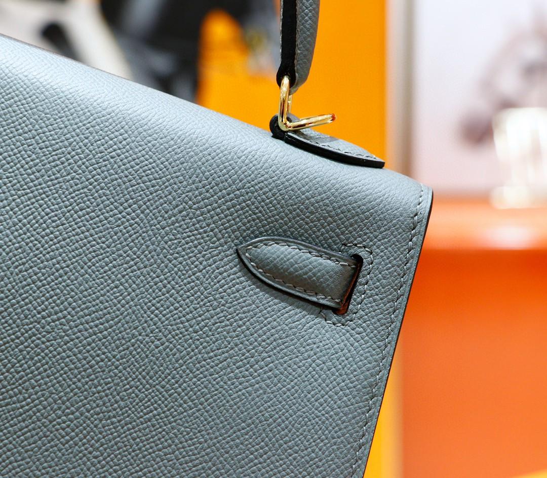 Hermès(爱马仕)Kelly 凯莉包 杏仁绿 Epsom 全手缝 金扣 25cm