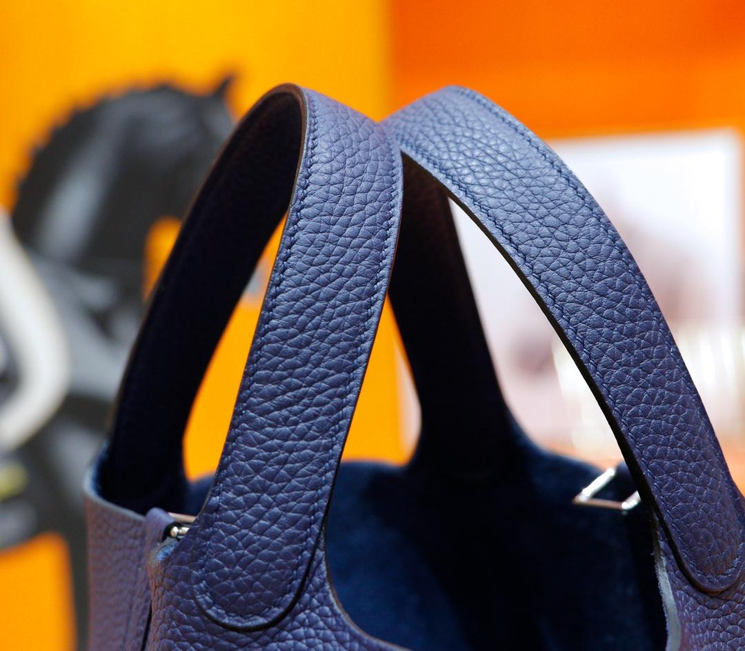 Hermès(爱马仕)Picotin 菜篮子 宝蓝 Togo 全手缝 银扣 18cm