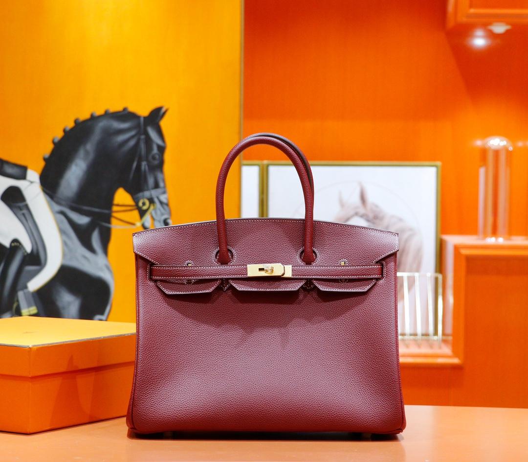 Hermès(爱马仕)Birkin 铂金包 石榴红 Togo 全手缝 金扣 35cm