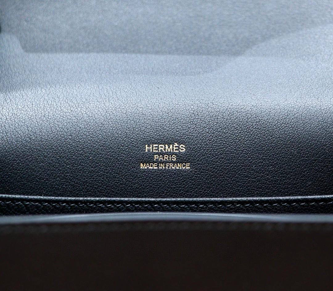 Hermès(爱马仕)Roulis 猪鼻子 黑色 Swift 全手缝 浅金扣 19cm