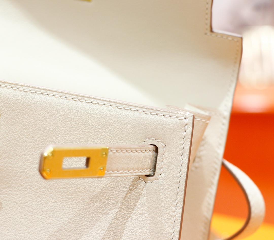Hermès(爱马仕)Kelly Dance 跳舞包 奶昔白 Evercolor 全手缝 金扣