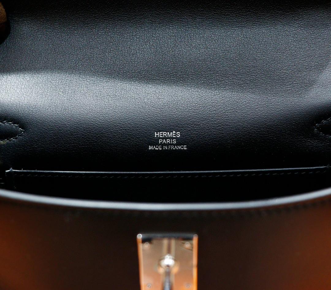 Hermès(爱马仕)Minikelly 迷你凯莉 黑色 Swift 全手缝 银扣 一代
