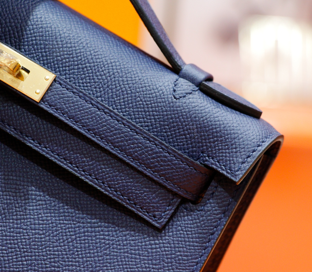 Hermès(爱马仕)Minikelly 迷你凯莉 宝蓝 Epsom 全手缝 金扣 一代