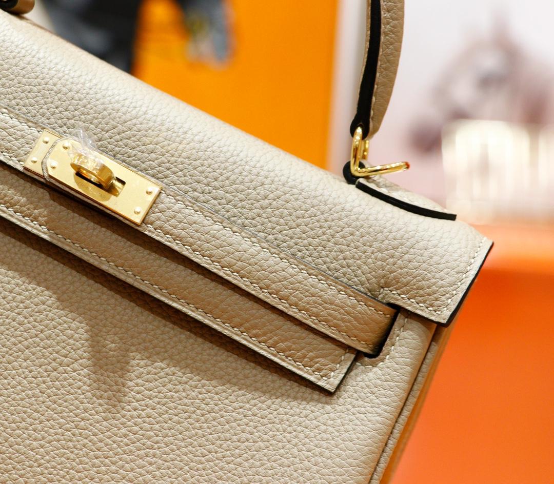 Hermès(爱马仕)Kelly 凯莉包 风衣灰 Togo 全手缝 金扣 25cm