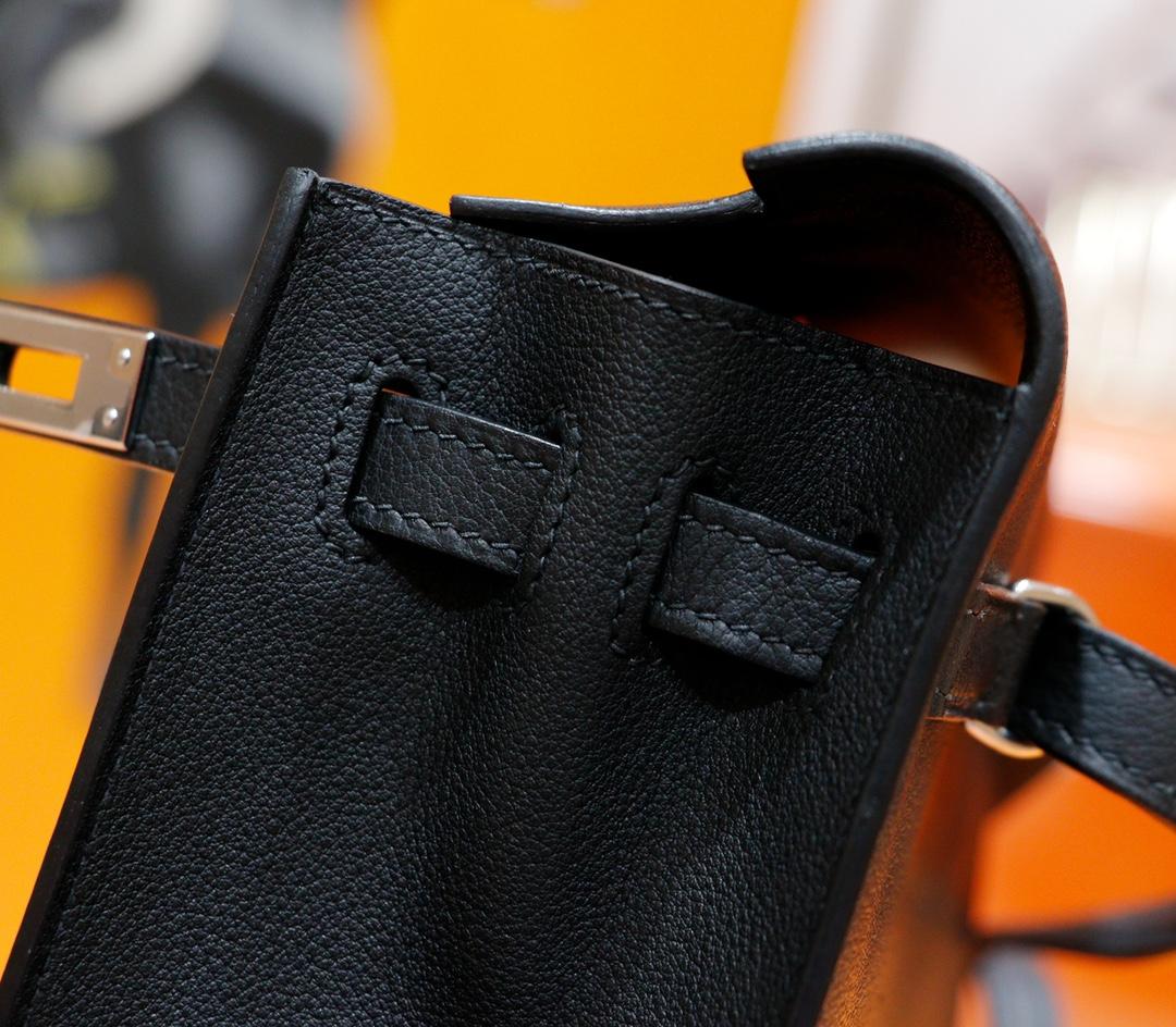 Hermès(爱马仕)Kelly Dance 跳舞包 黑色 Evercolor 全手缝 银扣