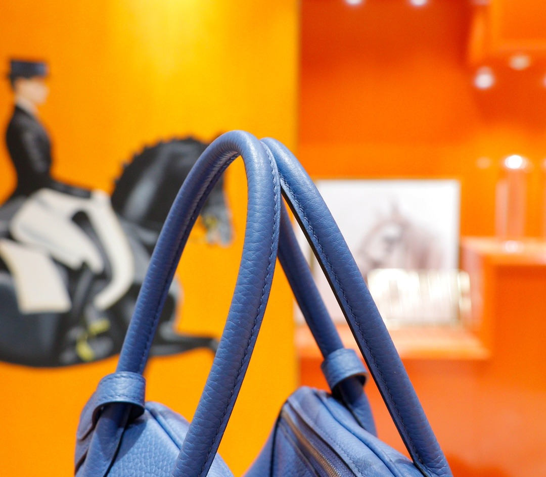 Hermès(爱马仕)Lindy 琳迪包 玛瑙蓝 Togo 全手缝 银扣 20cm
