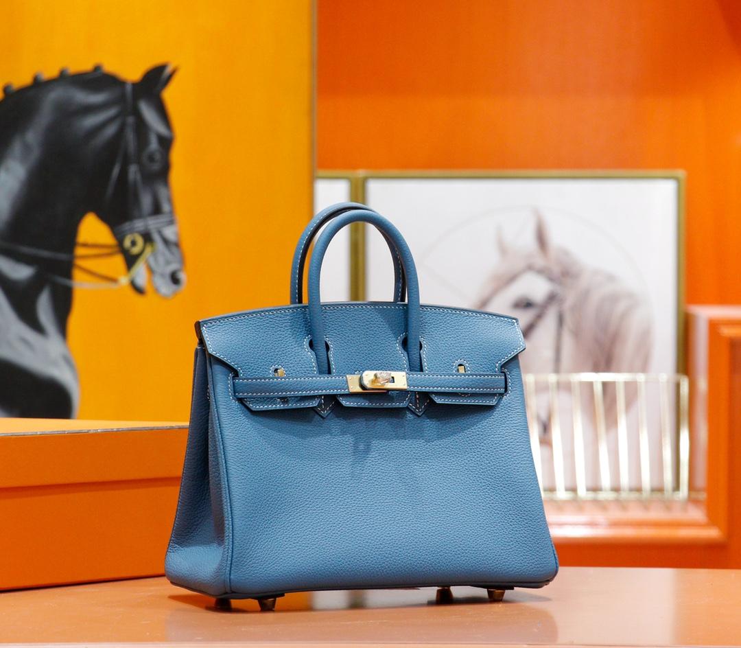 Hermès(爱马仕)Birkin 铂金包 牛仔蓝 Togo 全手缝 金扣 25cm