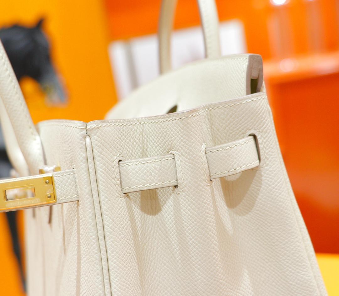 Hermès(爱马仕)Birkin 铂金包 奶昔白 Epsom 全手缝 金扣 25cm