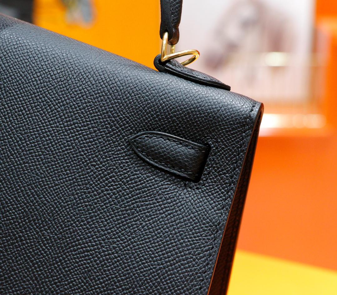 Hermès(爱马仕)Kelly 凯莉包 黑色 Epsom 全手缝 金扣 25cm