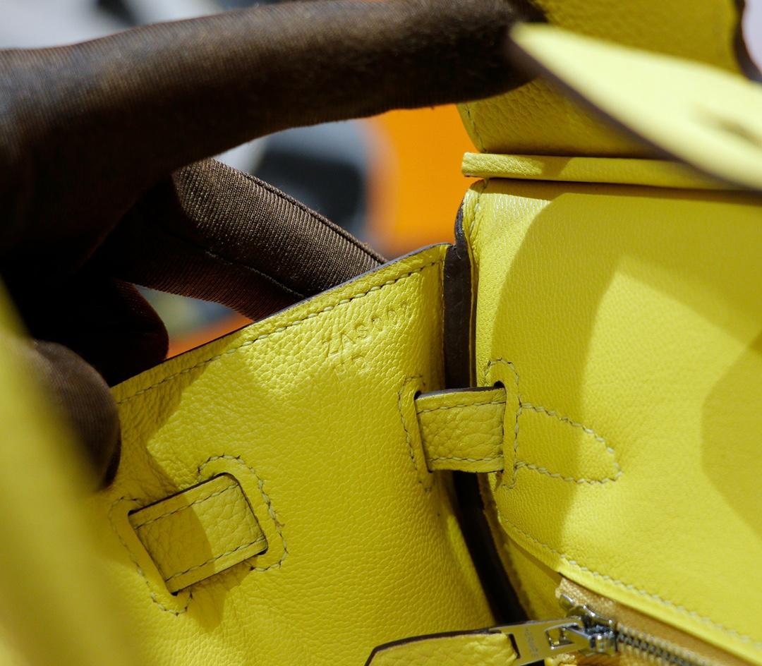Hermès(爱马仕)Birkin 铂金包 小鸡黄 Togo 全手缝 银扣 25cm