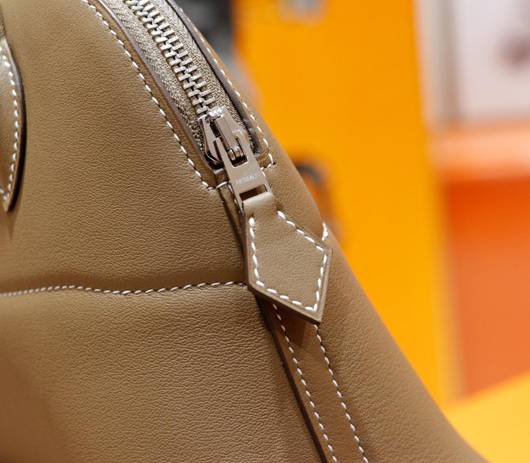 Hermès(爱马仕)Bolide 保龄球包 大象灰 Swift 全手缝 银扣 27cm