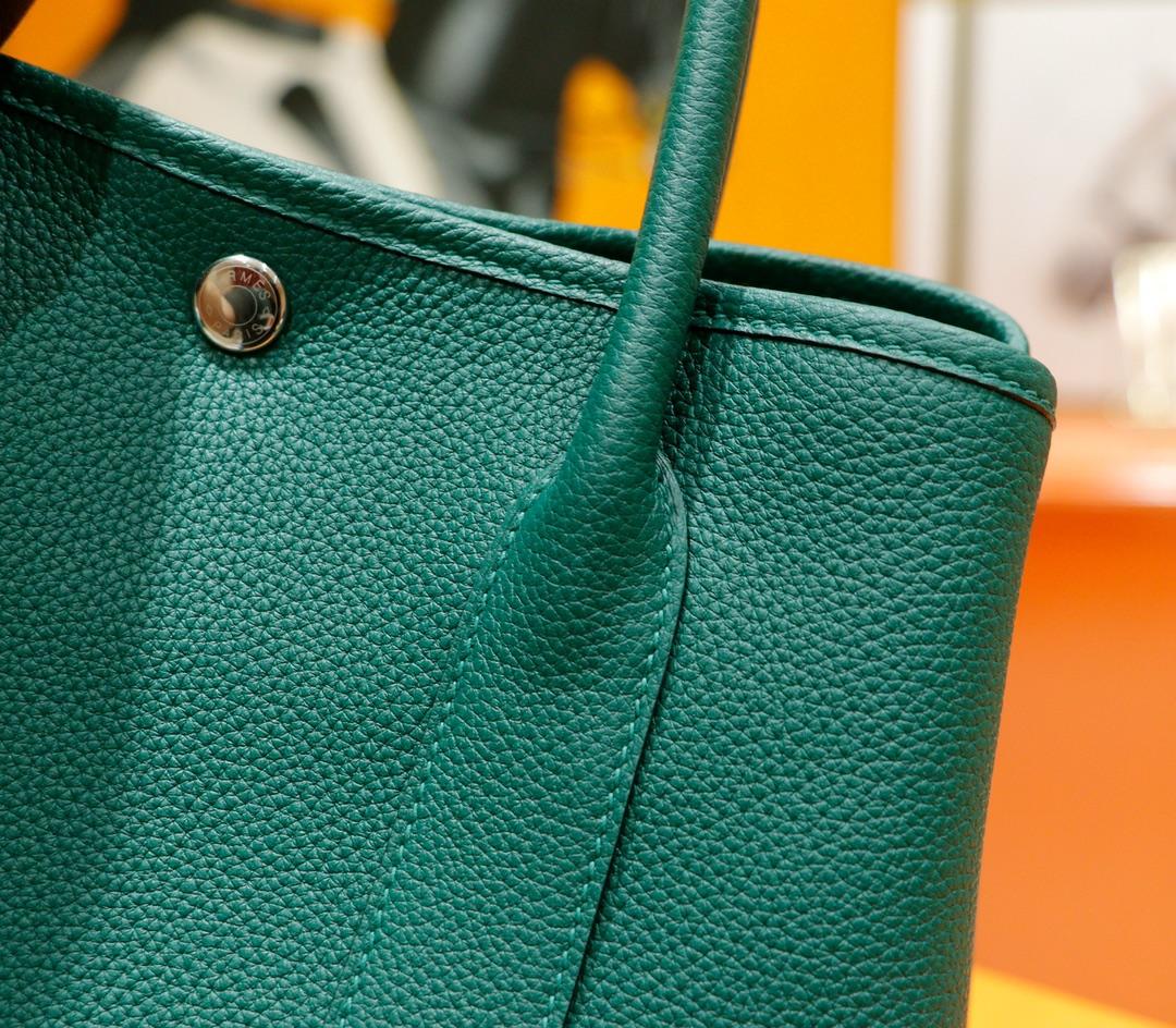 Hermès(爱马仕)Garden party 花园包 祖母绿 Togo 全手缝 银扣 30cm