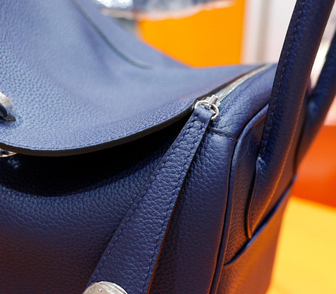 Hermès(爱马仕)Lindy 琳迪包 宝蓝 Togo 全手缝 银扣 26cm