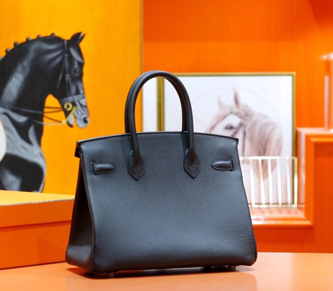 Hermès(爱马仕)Birkin 铂金包 黑色 Epsom 全手缝 银扣 30cm
