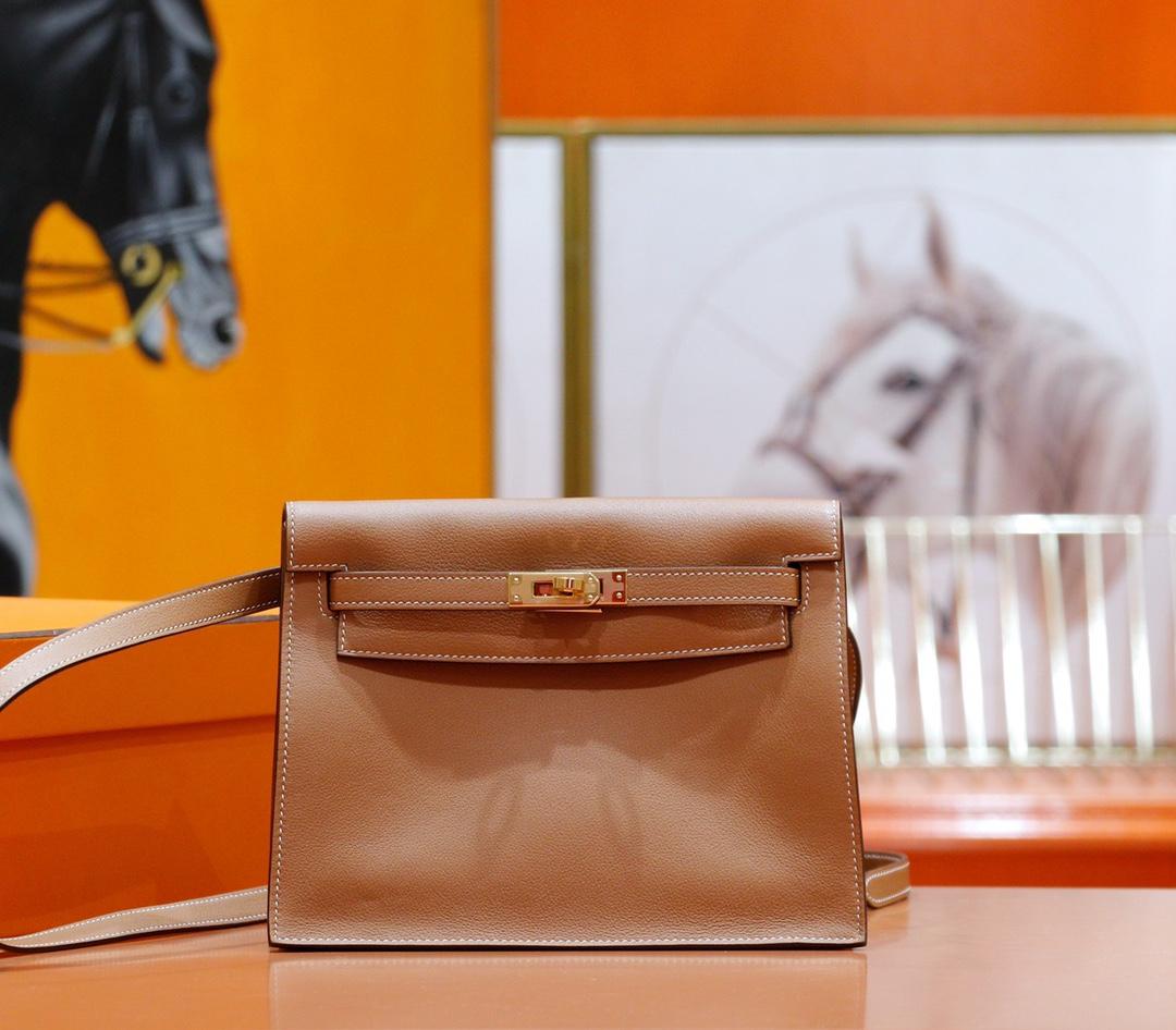 Hermès(爱马仕)Kelly Dance 跳舞包 金棕色 Evercolor 全手缝 金扣