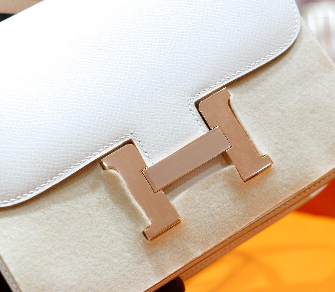 Hermès(爱马仕)Constance 空姐包 奶昔白 Epsom 全手缝 浅金扣 19cm