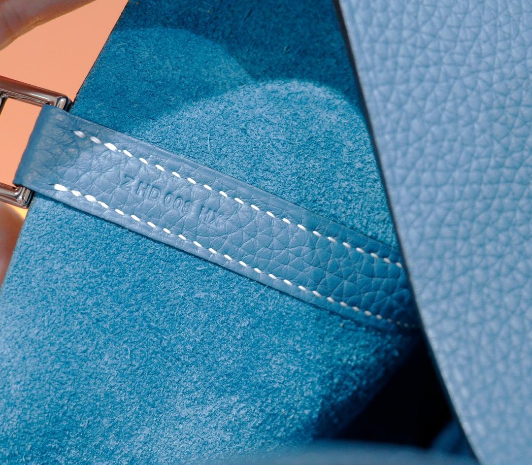 Hermès(爱马仕)Picotin 菜篮子 牛仔蓝 Togo 全手缝 银扣 18cm