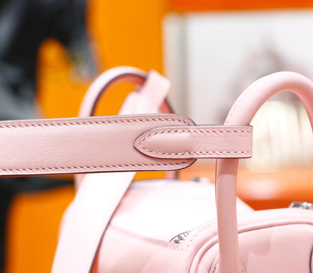 Hermès(爱马仕)Mini Lindy 迷你琳迪包 奶昔粉 Togo 全手缝 银扣 20cm
