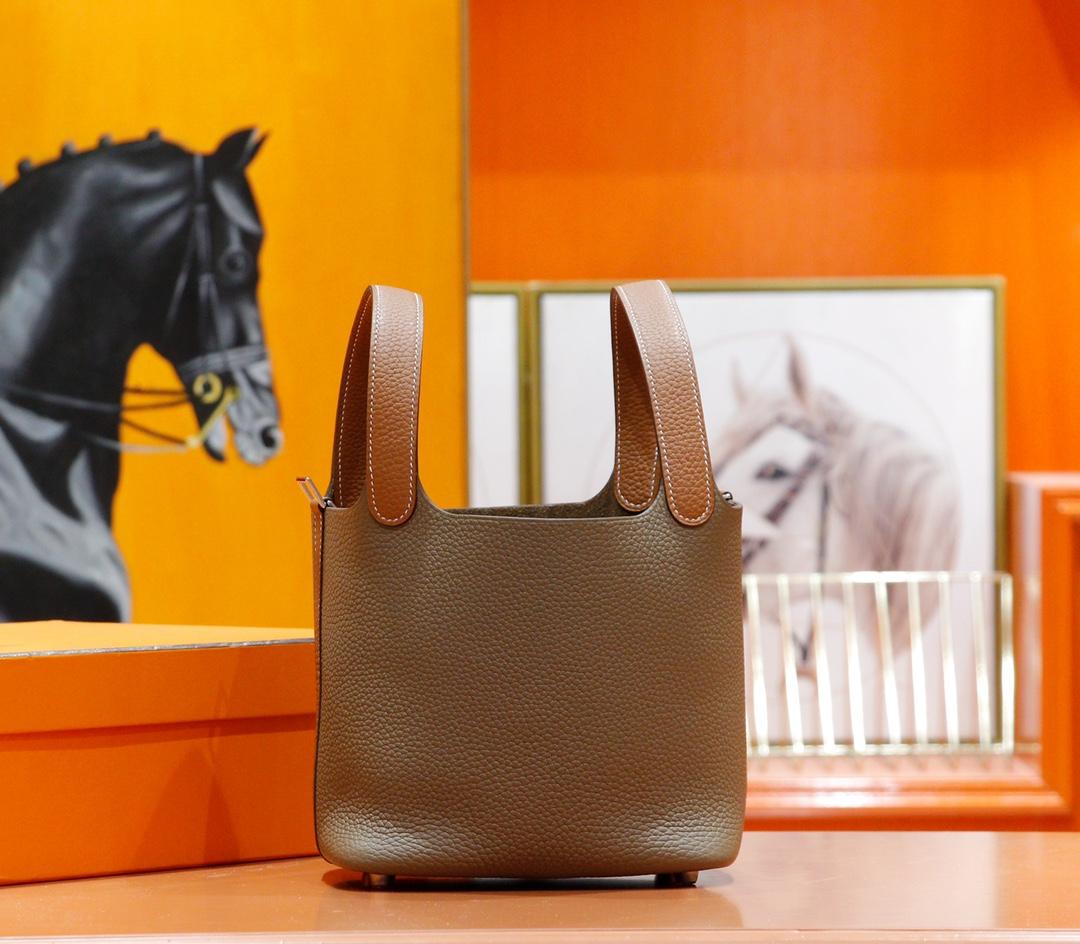 Hermès(爱马仕)Picotin 菜篮子 大象灰拼金棕 Togo 全手缝 银扣 18cm